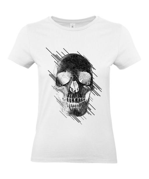 T-shirt Femme Tête de Mort Graphique [Skull, Abstract, Abstrait, Gothique] T-shirt Manches Courtes, Col Rond