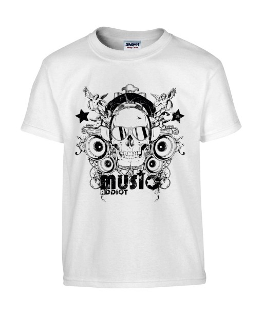 T-shirt Homme Tête de Mort Music [Skull, Concert, Rock, Musique] T-shirt Manches Courtes, Col Rond