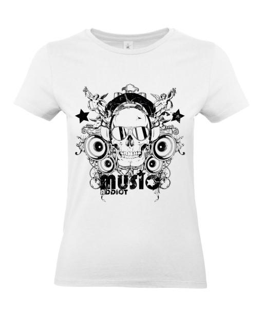 T-shirt Femme Tête de Mort Music [Skull, Concert, Rock, Musique] T-shirt Manches Courtes, Col Rond