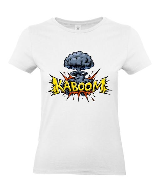 T-shirt Femme Pop Art Kaboom [Explosion, Bombe Nucléaire, Graffiti, Rétro, Comics, Cartoon] T-shirt Manches Courtes, Col Rond