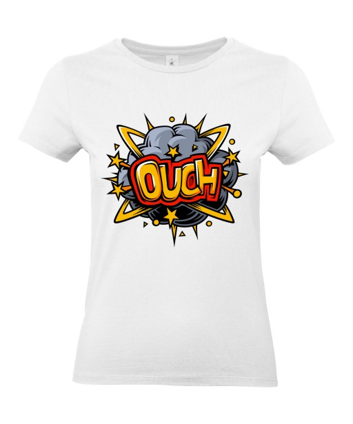 T-shirt Femme Pop Art Ouch [Graffiti, Combat, Rétro, Comics, Cartoon] T-shirt Manches Courtes, Col Rond