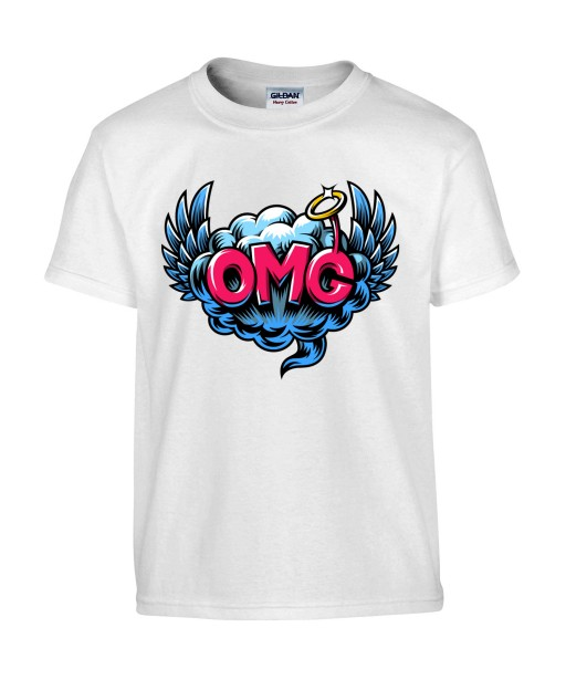 T-shirt Homme Pop Art OMG [Graffiti, Oh My God, Rétro, Ange, Comics, Ailes, Nuage, Cartoon] T-shirt Manches Courtes, Col Rond