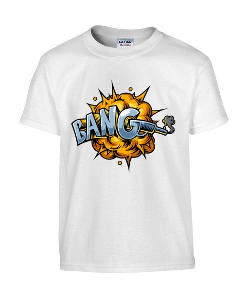 T-shirt Homme Pop Art Bang [Graffiti, Arme, Tir, Pistolet, Rétro, Comics, Cartoon] T-shirt Manches Courtes, Col Rond