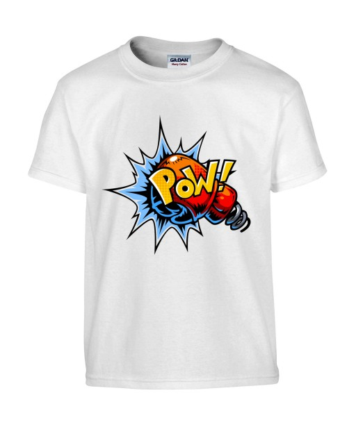 T-shirt Homme Pop Art Pow [Graffiti, Combat, Poing, Gant de Boxe, Sport, Rétro, Comics, Cartoon] T-shirt Manches Courtes, Col Rond