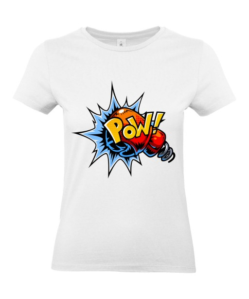 T-shirt Femme Pop Art Pow [Graffiti, Combat, Poing, Gant de Boxe, Sport, Rétro, Comics, Cartoon] T-shirt Manches Courtes, Col Rond