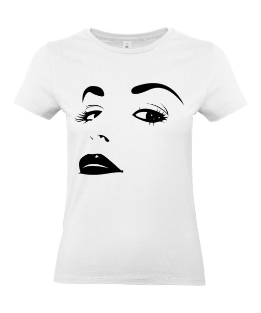 T-shirt Femme Sexy Glamour [Pin-Up, Visage, Femme, Mode, Graphique, Design] T-shirt Manches Courtes, Col Rond