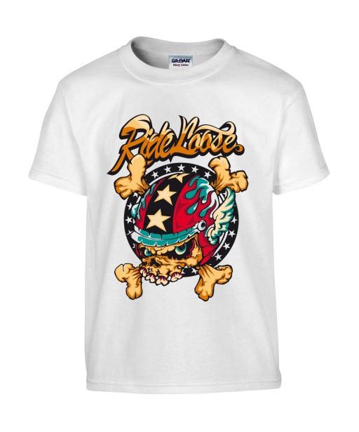 T-shirt Homme Tête de Mort Motard [Biker, Ride Loose, Moto, Swag] T-shirt Manches Courtes, Col Rond