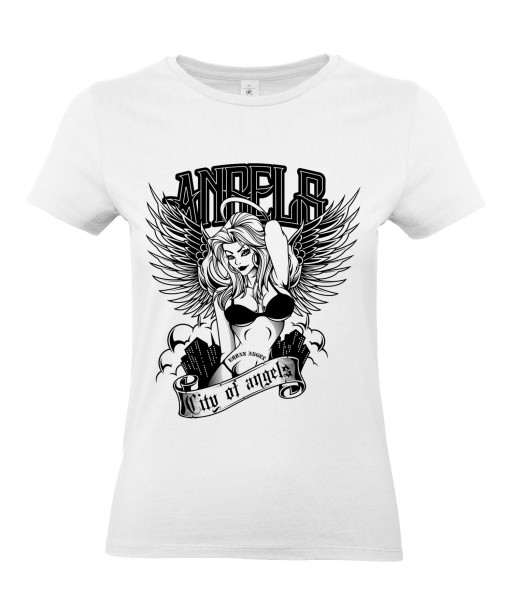 T-shirt Femme Sexy Angels [Tattoo, Tatouage, Pin-Up, Ange, Coquin] T-shirt Manches Courtes, Col Rond