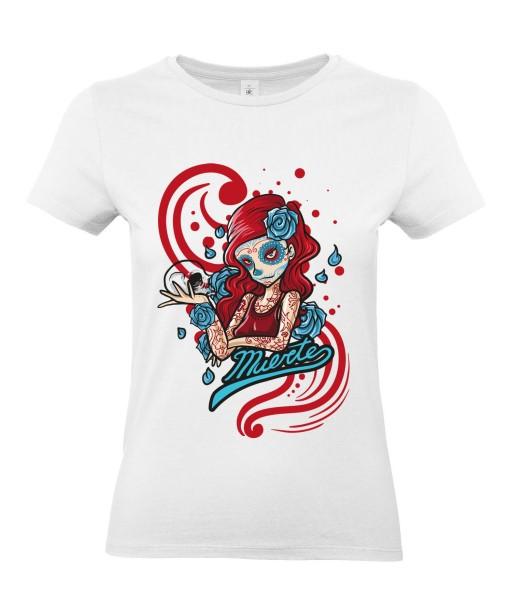 Acheter T-shirt Femme Tête de Mort Calavera Sexy KreaMode, à manches courtes et col rond avec imprimé Skull, Gothique, Mexique, Fête des Morts et Santa Muerte.