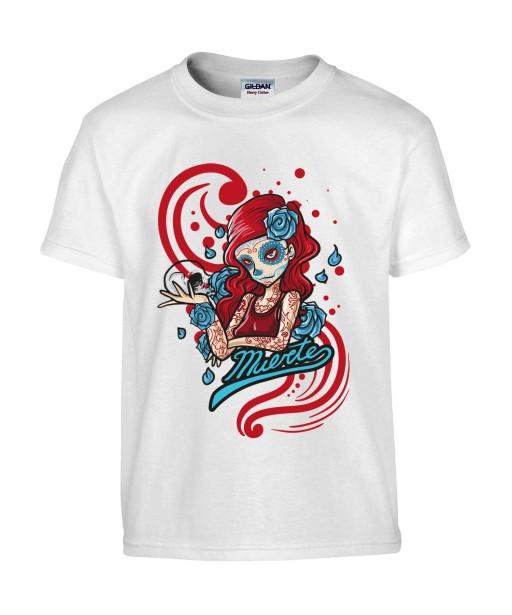 T-shirt Homme Tête de Mort Calavera Sexy [Skull, Gothique, Mexique, Fête des Morts, Santa Muerte] T-shirt Manches Courtes, Col Rond