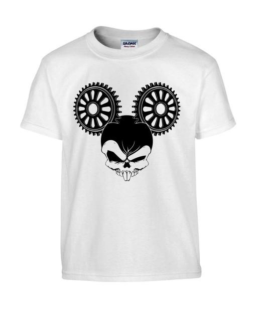 T-shirt Homme Tête de Mort Mickey Mouse [Skull, Trash, Films, Humour Noir, Disney, Parodie, Cinéma] T-shirt Manches Courtes, Col Rond