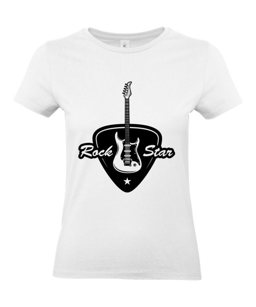 T-shirt Femme Musique Rock Star Guitare [Concert, Métal, Rock, Médiator] T-shirt Manches Courtes, Col Rond
