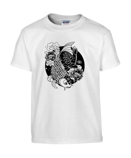 T-shirt Homme Tattoo Carpe Koï Lotus [Tatouage, Japon, Spiritualité, Zen, Animaux, Poisson, Religion] T-shirt Manches Courtes, Col Rond
