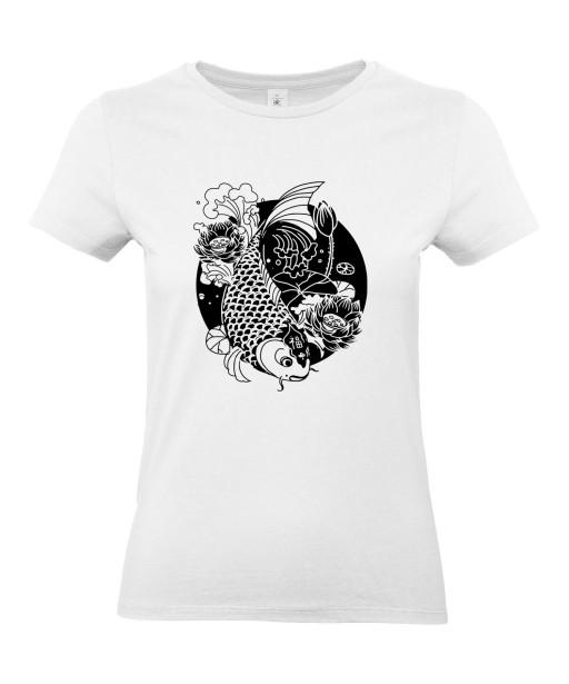 T-shirt Femme Tattoo Carpe Koï Lotus [Tatouage, Japon, Spiritualité, Zen, Animaux, Poisson, Religion] T-shirt Manches Courtes, Col Rond