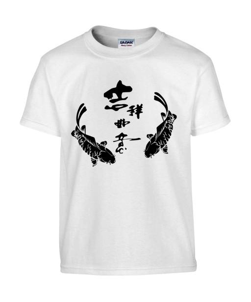 T-shirt Homme Tattoo Carpe Koï Symboles [Tatouage, Irezumi, Japon, Spiritualité, Zen, Animaux, Poisson, Religion] T-shirt Manches Courtes, Col Rond