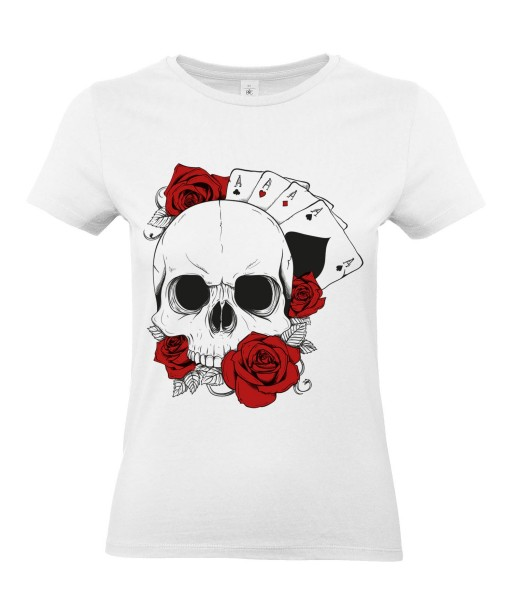 T-shirt Femme Tête de Mort Poker [Skull, Gothique, Cartes, Roses] T-shirt Manches Courtes, Col Rond