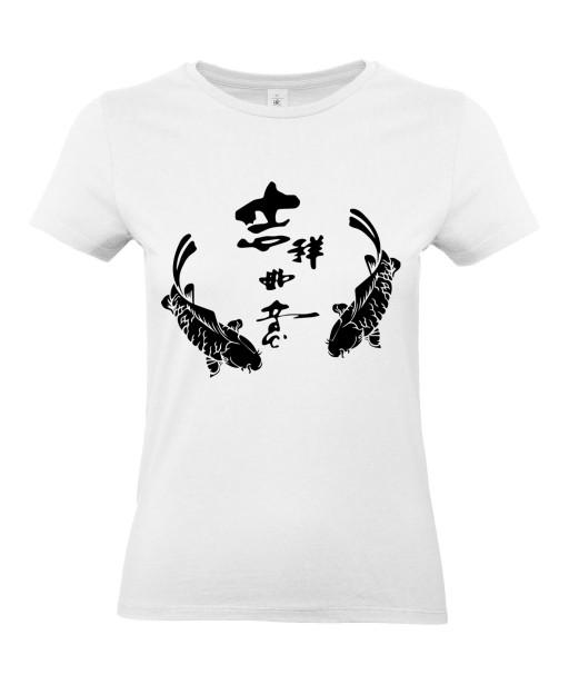 T-shirt Femme Tattoo Carpe Koï Symboles [Tatouage, Irezumi, Japon, Spiritualité, Zen, Animaux, Poisson, Religion] T-shirt Manches Courtes, Col Rond