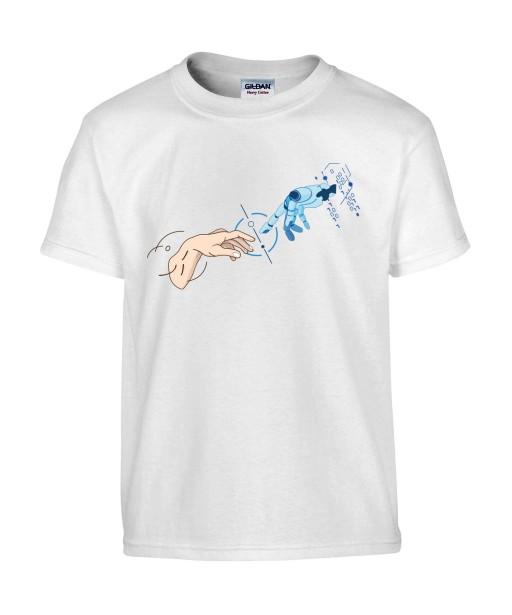 T-shirt Homme Création D'Adam [Robot, Science, Religion, Spirituel, Chrétien, Doigt, Michel-Ange] T-shirt Manches Courtes, Col Rond