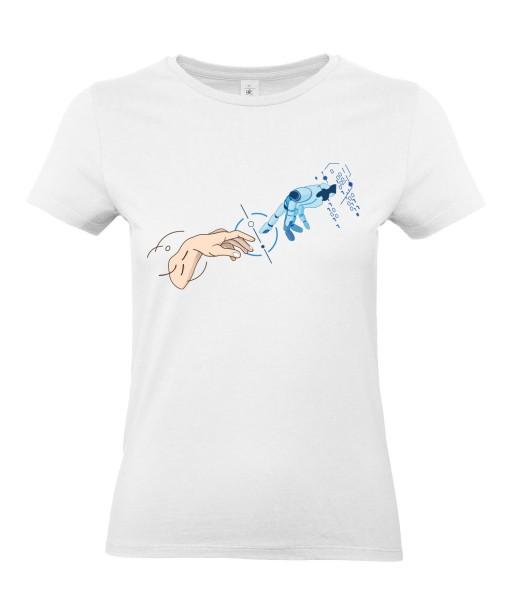 T-shirt Femme Création D'Adam [Robot, Science, Religion, Spirituel, Chrétien, Doigt, Michel-Ange] T-shirt Manches Courtes, Col Rond