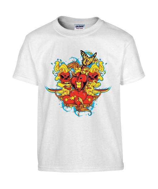 T-shirt Homme Tête de Mort Coeur Trash [Skull, Tattoo, Tatouage, Graphique, Design, Papillon] T-shirt Manches Courtes, Col Rond