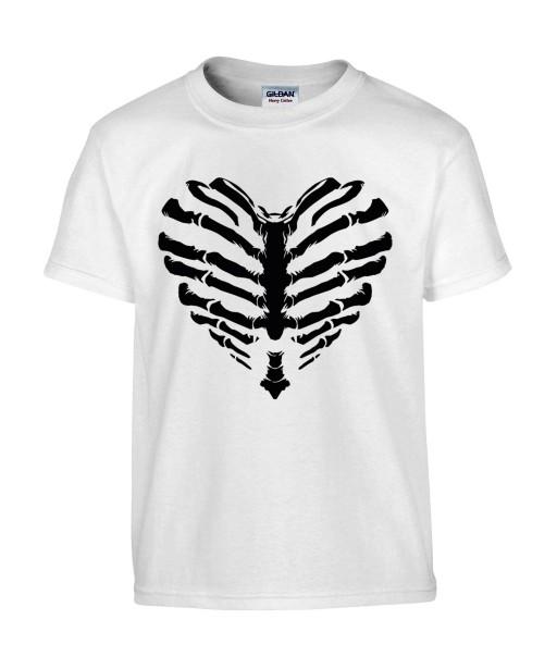 T-shirt Homme Coeur Squelette [Tête de Mort, Skull, Cœur, Os] T-shirt Manches Courtes, Col Rond