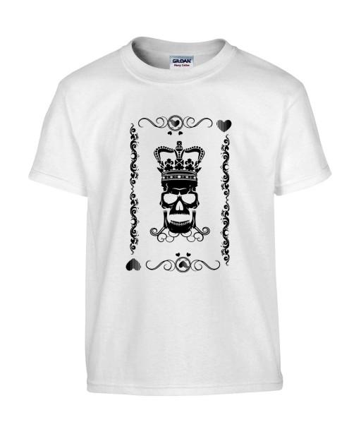 T-shirt Homme Tête de Mort Roi de Coeur [Skull, King, Poker, Carte] T-shirt Manches Courtes, Col Rond
