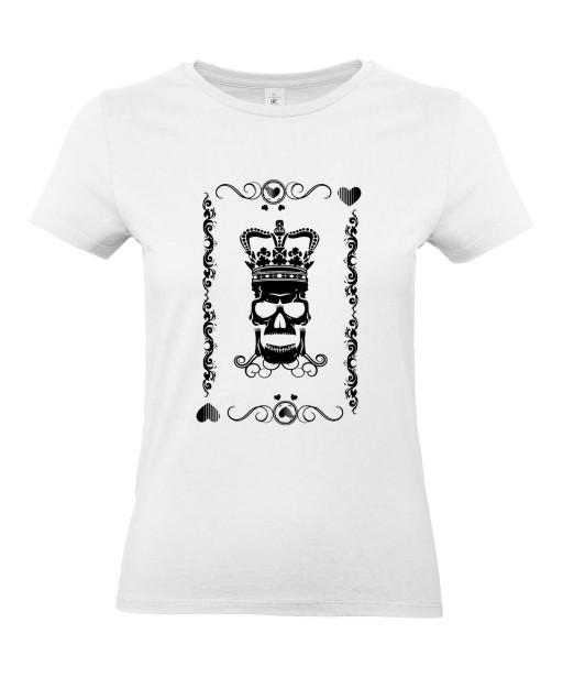 T-shirt Femme Tête de Mort Roi de Coeur [Skull, King, Poker, Carte] T-shirt Manches Courtes, Col Rond