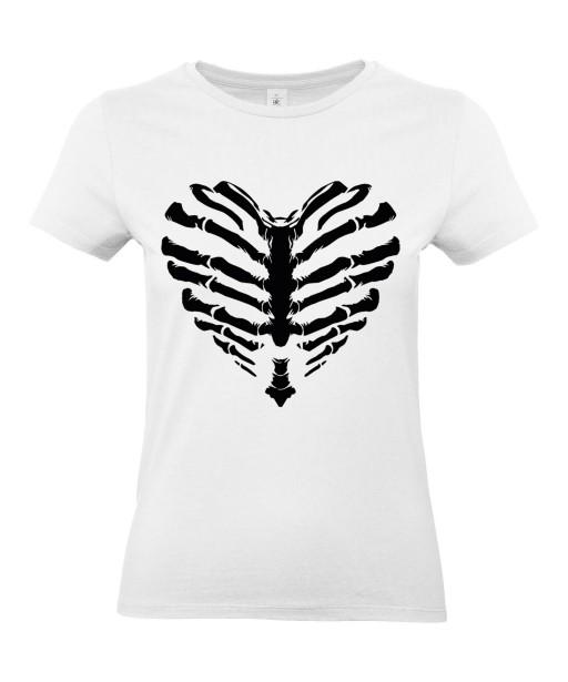 T-shirt Femme Coeur Squelette [Tête de Mort, Skull, Cœur, Os] T-shirt Manches Courtes, Col Rond