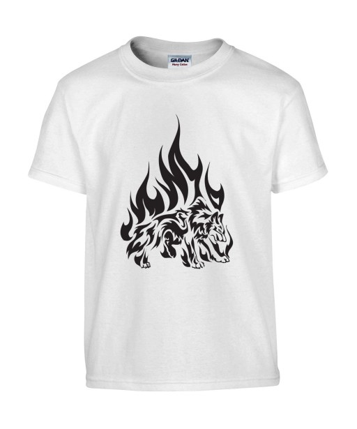 T-shirt Homme Tattoo Tribal Loup Flammes [Tatouage, Animaux, Graphique, Design] T-shirt Manches Courtes, Col Rond