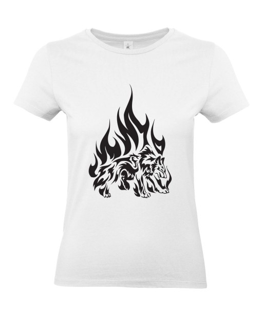 T-shirt Femme Tattoo Tribal Loup Flammes [Tatouage, Animaux, Graphique, Design] T-shirt Manches Courtes, Col Rond