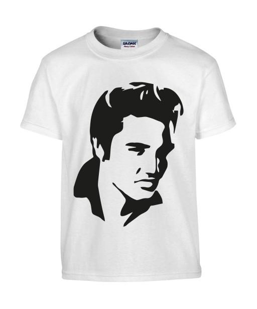 T-shirt Homme Elvis Profil [Chanteur, Célébrité, King, Presley, Musique] T-shirt manche Courtes, Col Rond