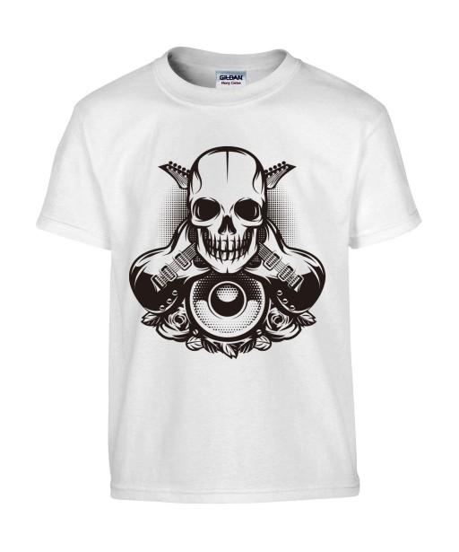 T-shirt Homme Tête de Mort Guitare [Skull, Rock, Musique] T-shirt Manches Courtes, Col Rond