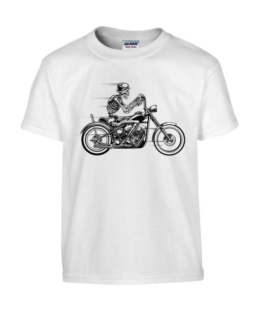 T-shirt Homme Tête de Mort Moto [Skull, Biker, Motard] T-shirt Manches Courtes, Col Rond