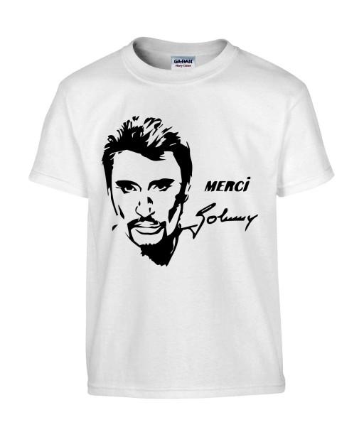 T-shirt Homme Merci Johnny [Chanteur, Johnny Hallyday, Célébrité, Rockeur, Motard] T-shirt manche Courtes, Col Rond
