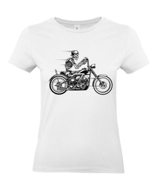 T-shirt Femme Tête de Mort Moto [Skull, Biker, Motard] T-shirt Manches Courtes, Col Rond