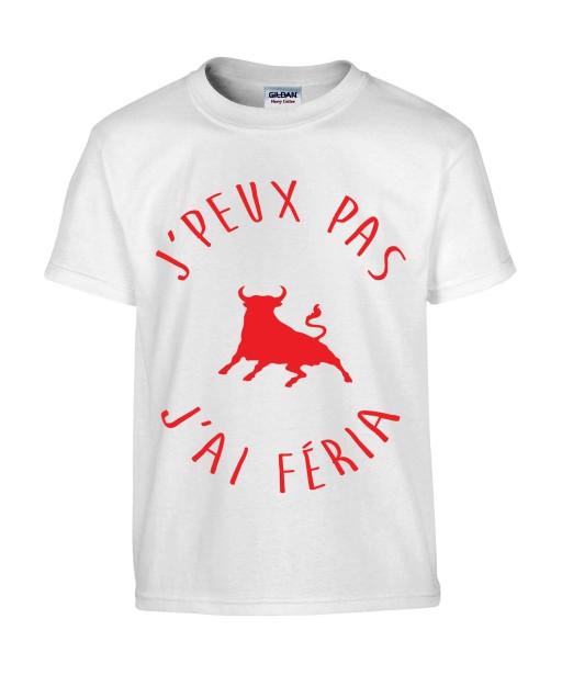 T-shirt Homme Taureau J'peux pas j'ai féria [Humour Fun, Amusant, Alcool, Bière, Vachette, Drôle, Comique, Fête et Bandas] T-shirt manche Courtes, Col Rond