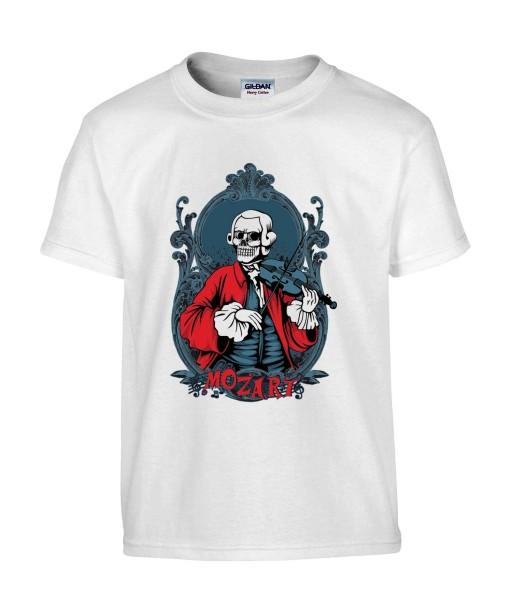 T-shirt Homme Tête de Mort Mozart [Skull, Classique, Célébrité, Musique, Violon] T-shirt Manches Courtes, Col Rond