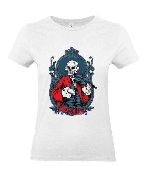 T-shirt Femme Tête de Mort Mozart [Skull, Classique, Célébrité, Musique, Violon] T-shirt Manches Courtes, Col Rond