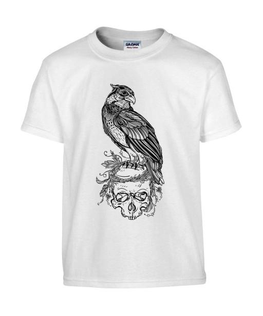T-shirt Homme Tête de Mort Aigle [Skull, Gothique, Tatouage, Faucon] T-shirt Manches Courtes, Col Rond