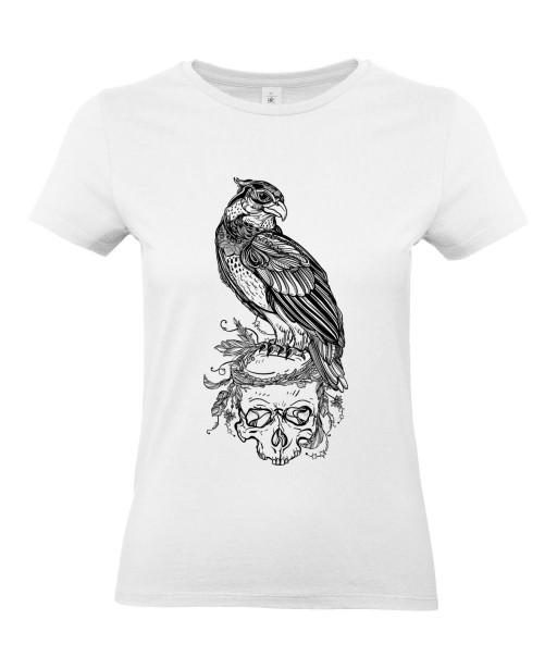 T-shirt Femme Tête de Mort Aigle [Skull, Gothique, Tatouage, Faucon] T-shirt Manches Courtes, Col Rond