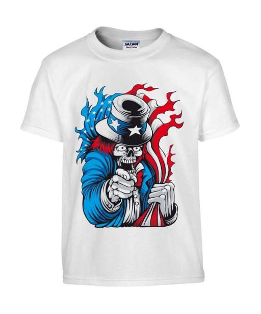 T-shirt Homme Tête de Mort Uncle Sam [Skull, Célébrité, Humour Noir, USA, Parodie] T-shirt Manches Courtes, Col Rond