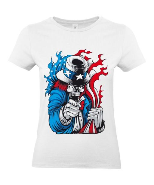 T-shirt Femme Tête de Mort Uncle Sam [Skull, Célébrité, Humour Noir, USA, Parodie] T-shirt Manches Courtes, Col Rond