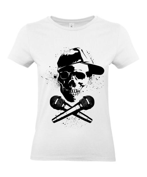 T-shirt Femme Tête de Mort Rap [Street Art, Urban, Hip-Hop, Musique] T-shirt Manches Courtes, Col Rond