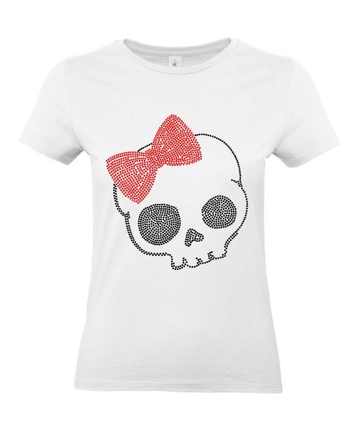 T-shirt Femme Tête de Mort Hello Kitty [Skull, Gothique, Humour Noir, Chat, Parodie] T-shirt Manches Courtes, Col Rond