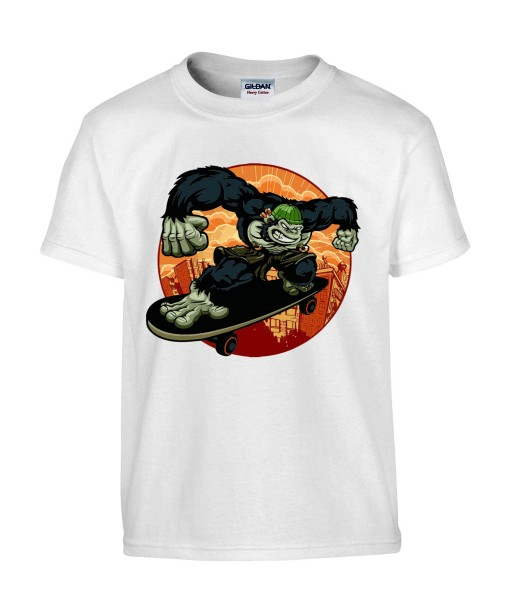 T-shirt Homme Gorille Skater [Street Art, Animaux, Urban, Swag] T-shirt Manches Courtes, Col Rond