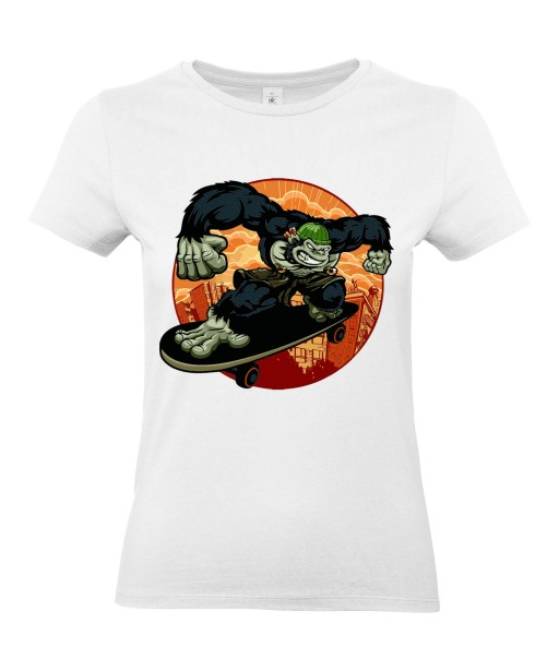 T-shirt Femme Gorille Skater [Street Art, Animaux, Urban, Swag] T-shirt Manches Courtes, Col Rond