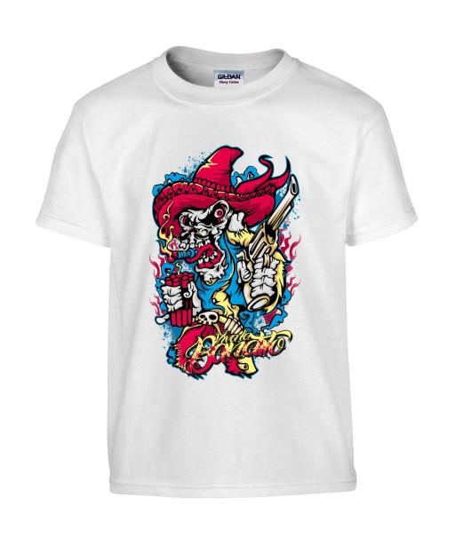 T-shirt Homme Tête de Mort Mexicain [Skull, Cowboy, Sombrero, Revolver, Trash] T-shirt Manches Courtes, Col Rond