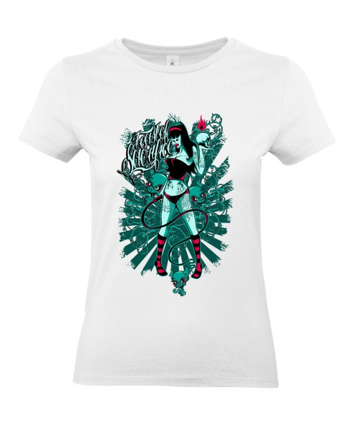 T-shirt Femme Tête de Mort Sexy [Skull, Coquin, Dominatrice, Fouet] T-shirt Manches Courtes, Col Rond