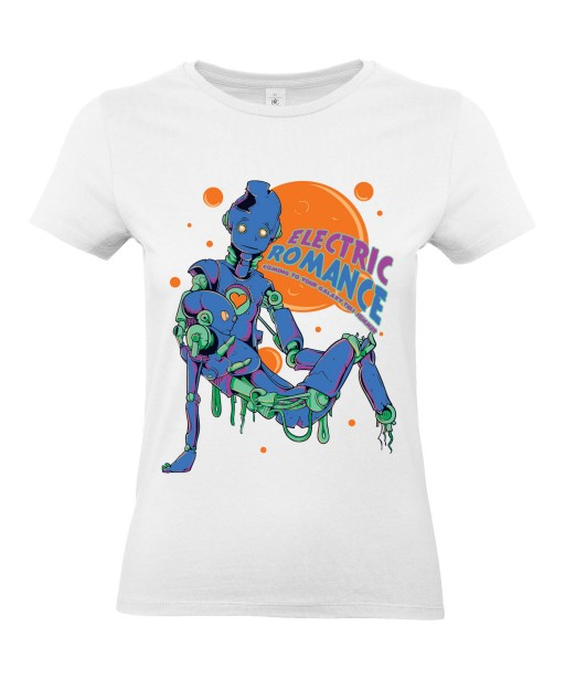T-shirt Femme Robots [Science-Fiction, Electric Romance, Amour] T-shirt Manches Courtes, Col Rond
