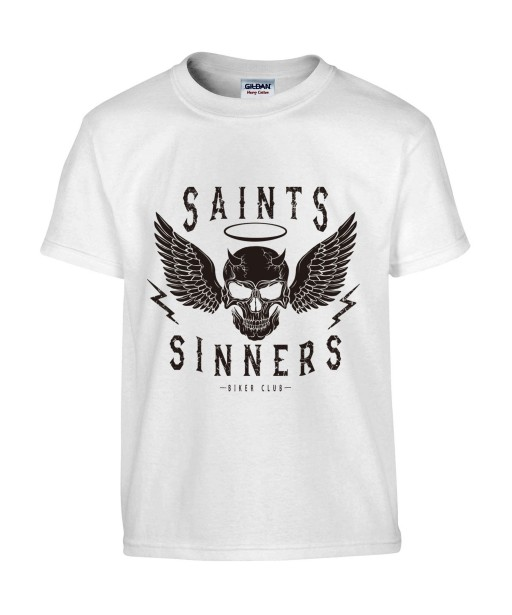 T-shirt Homme Tête de Mort Biker [Skull, Motard, Moto, Ange, Démon] T-shirt Manches Courtes, Col Rond